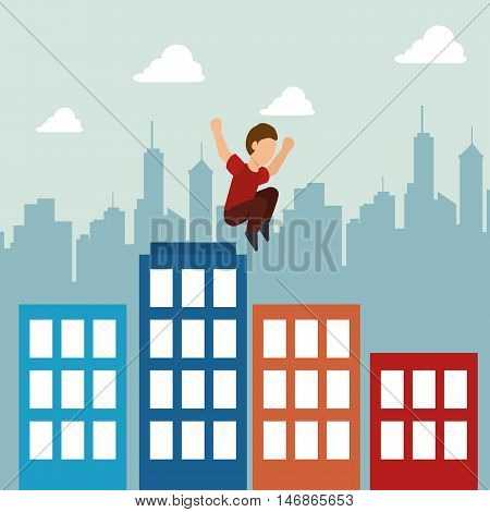 extreme sports parkour design isolated vector illustration eps 10
