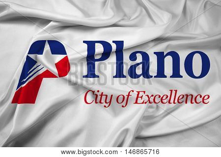 Waving Flag of Plano Texas USA, with beautiful satin background