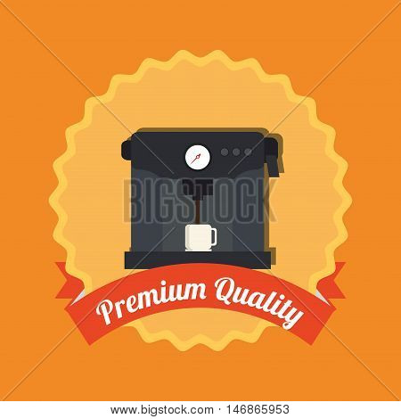 flat design premiun quality coffee machine label  vector illustration