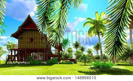 Tropical beach house in the tropics 3d rendering