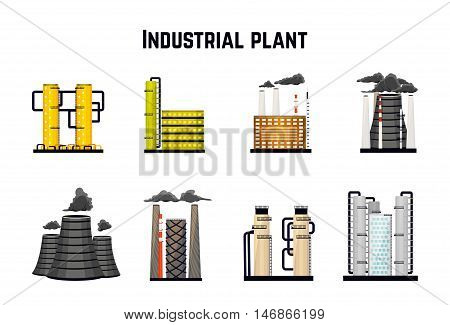 Industrial buildings and factories. Nuclear and power plants. Vector illustration