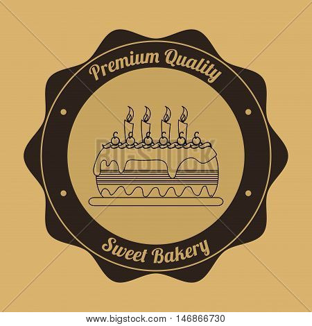 flat design cake bakery related emblem image vector illustration