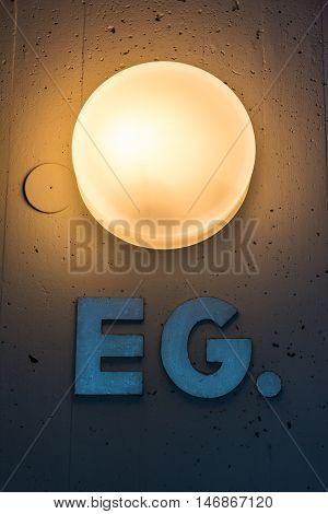 Erdgeschoss EG Apartment Floor Number Map Wall Metal Light Decoration