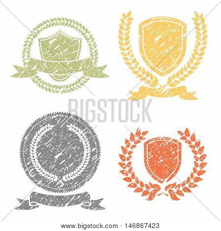 Laurel Wreath And Shields Grunge Stamps Set