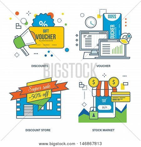 Concept of discounts, voucher, discount store, stock market and shopping. Color Line icons collection.