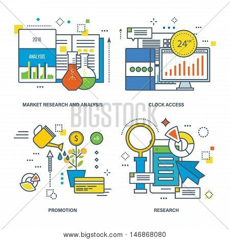 Concept of market research and analysis, 24 hrs clock access, promotion, research. Color Line icons collection.