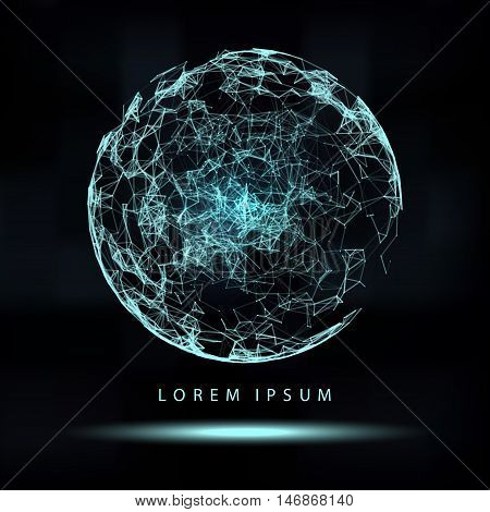 Abstract 3d Illuminated distorted Mesh Sphere . Neon Sign . Futuristic Technology HUD Element . Elegant Abstract Destroyed Sphere . Big data .