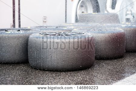 Slick Racing Tire Set In Pit