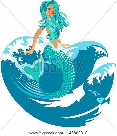 Mermaid sitting on a sea waves, isolated