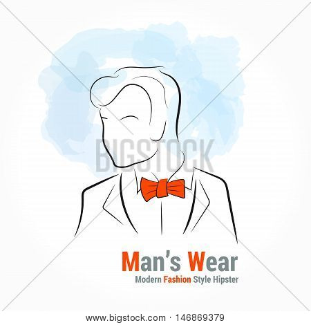 Vector illustration. Handdrawing. Silhouette man with orange bou tie on watercolor background. Banner or card template for mans wear shop or salon. Hipster style