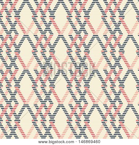 Abstract seamless geometric pattern of intertwined rhomboid shapes with striped lines. Marine theme print in red, blue, pink colors. Vector illustration for fabric, paper and other