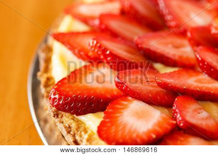 Delicious Strawberry Tart On Table