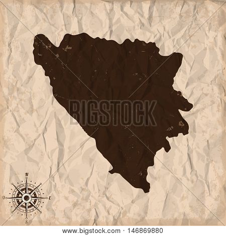 Bosnia and Herzegovina old map with grunge and crumpled paper. Vector illustration