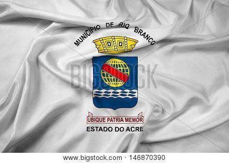 Waving Flag Of Rio Branco, Acre, Brazil