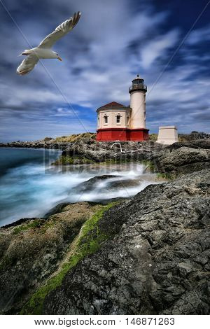 Vertical Image of a Lighthouse in Oregon, USA