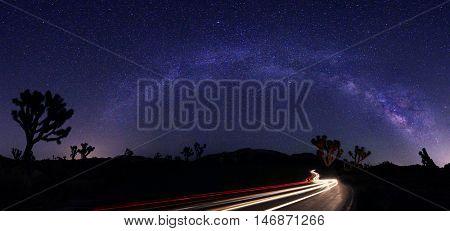Luminous Light Landscape of Milky Way Stars Panorama