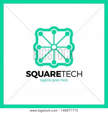 Simple Minimalistic Logotype. Box With Eight Tech Line Logo. Square Media Signal .