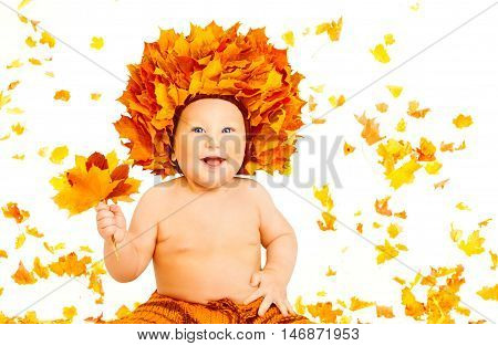 Baby Autumn Fashion Portrait Kid in Fall Leaves Hat Child on White