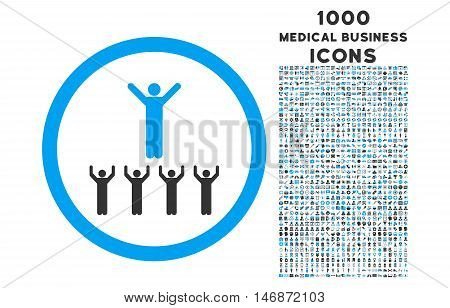 Religion Adepts rounded vector bicolor icon with 1000 medical business icons. Set style is flat pictograms, blue and gray colors, white background.