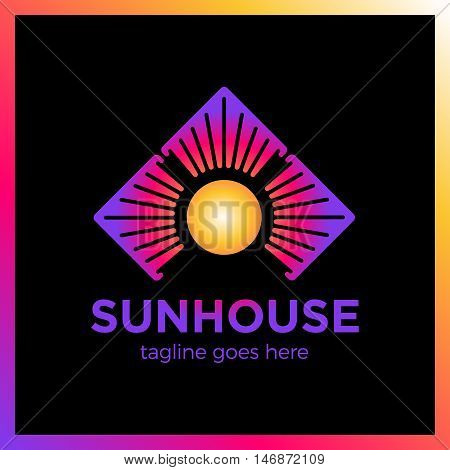 Simple Minimalistic Logotype. Three House In Circle Sun Logo. Different Direction Arrow.