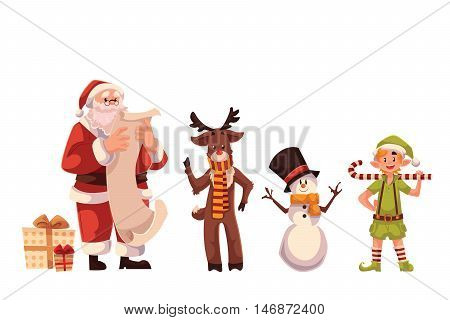 Set of Santa Claus, reindeer, snowman and elf, cartoon style vector illustrations isolated on white background. Santa Claus with a gift list, deer, funny snowman and little elf