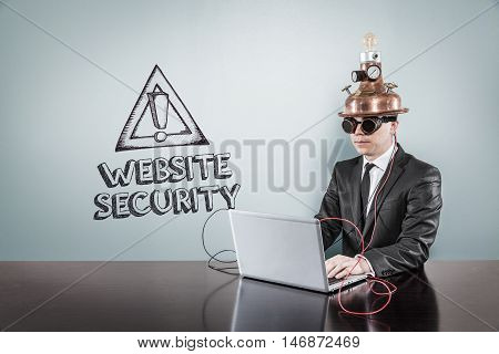 Website security text with vintage businessman using laptop at office