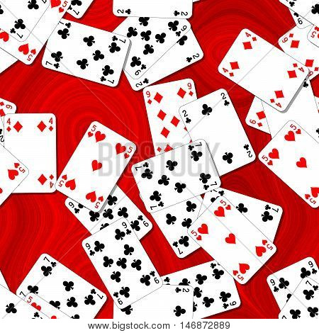 seamless background with playing cards randomly scattered on a red table