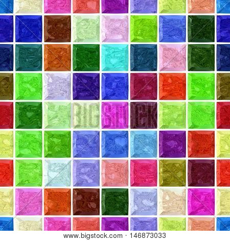 vibrant colorful spectrum marble stony mosaic seamless pattern texture background with white grout - regular squares