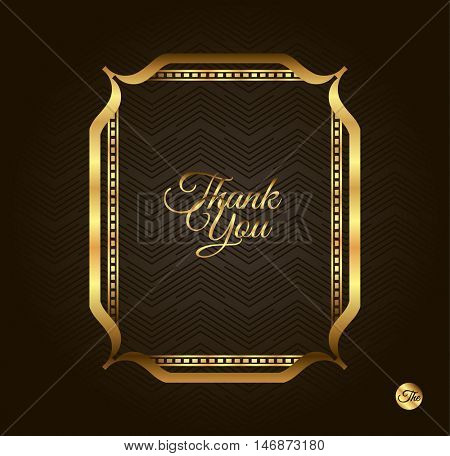 Thank you Golden frame. Vintage gold background, vector antique frame on black