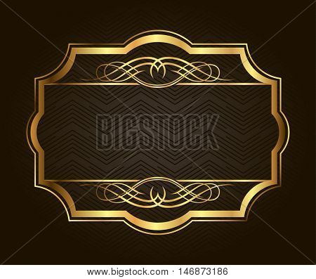 Golden frame for placing your picture or text behind. Vintage gold background, vector antique frame on black