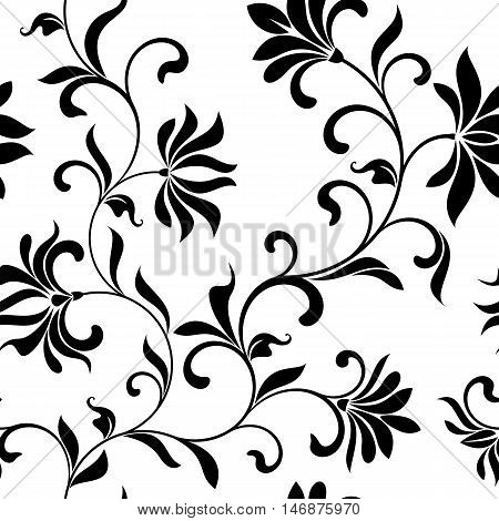 Seamless Floral Pattern On A White Background. Vintage Style. The Pattern Can Be Used For Printing O