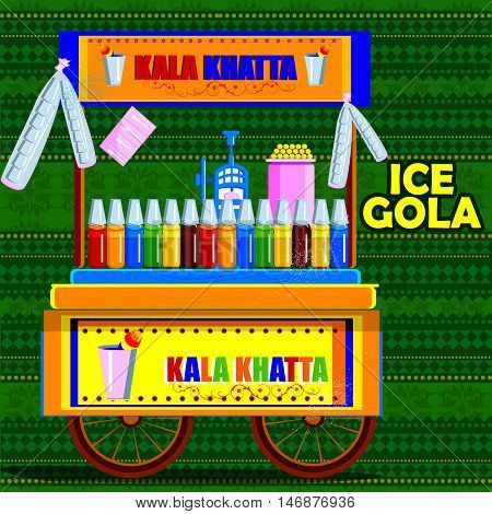 easy to edit vector illustration of Indian Kala Khatta Ice Gola cart representing street food of India