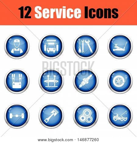 Set Of Twelve Service Station Icons.