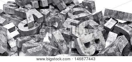 3d illustration of concrete letters isolated on whie background