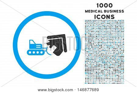 Demolition rounded vector bicolor icon with 1000 medical business icons. Set style is flat pictograms, blue and gray colors, white background.