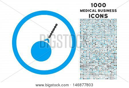 Destruction Hammer rounded vector bicolor icon with 1000 medical business icons. Set style is flat pictograms, blue and gray colors, white background.
