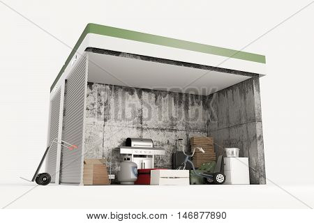 3d illustration of self storage units sections isolated on white background