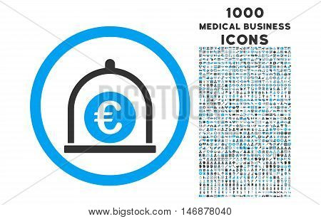 Euro Standard rounded vector bicolor icon with 1000 medical business icons. Set style is flat pictograms, blue and gray colors, white background.