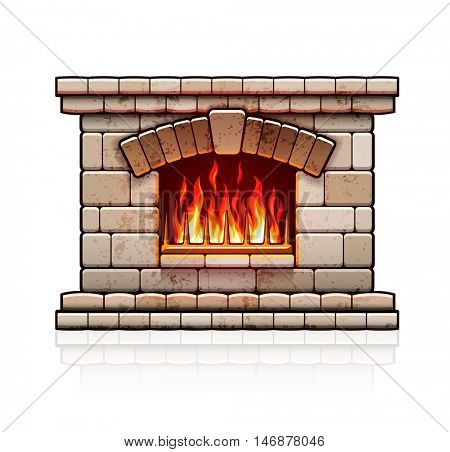 Stone bricks home fireplace. Christmas hearth with burning fire for house heating. Warm vector illustration. Isolated on white background
