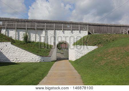 A defensive wall and gate on Mackinac Island, Michigan