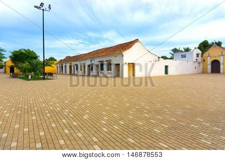 Plaza in front of Santa Barbara church in colonial Mompox Colombia