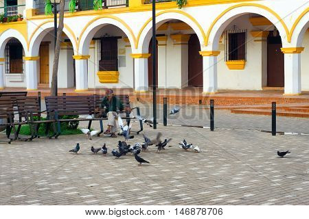 MOMPOX COLOMBIA - MAY 28: Man feeding pigeons in a plaza in Mompox Colombia on May 28 2016