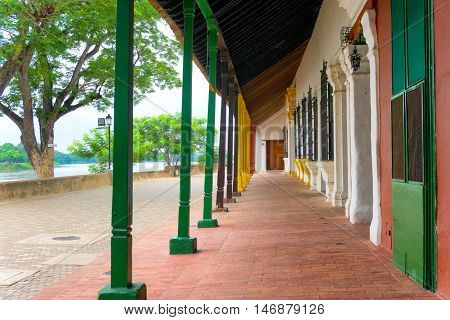 View of Magdalena river and beautiful colonial architecture in Mompox Colombia