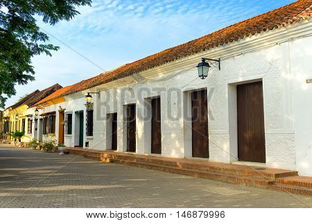 View of beautiful colonial architecture in historic Mompox Colombia