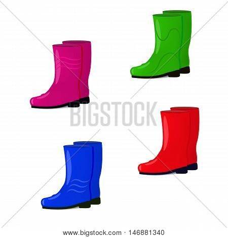 Vector illustration of a set of colored rubber boots isolated on white background. Shoes for fall and spring. Wellingtons for walking in the rain.