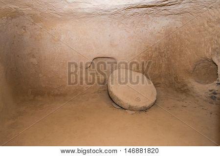 Underground city in Kirgkoz Saratli in Cappadocia Turkey