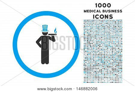 American Capitalist rounded glyph bicolor icon with 1000 medical business icons. Set style is flat pictograms, blue and gray colors, white background.
