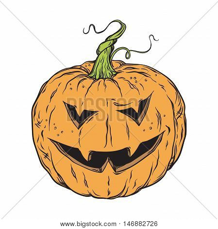 Vector halloween pumpkin hand drawn cartoon Jack-o'-lantern isolated on white background illustration