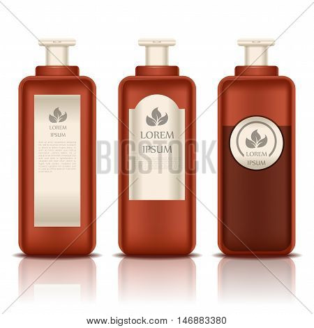 Vector image of the set of Cosmetic bottles