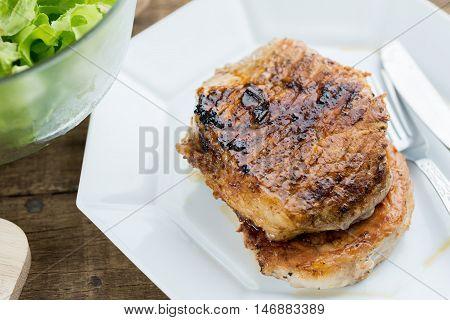 Food series : Two homemade pork steak